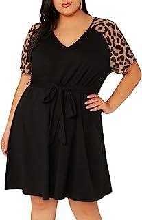 Women's Plus Size Short Sleeve Leopard Print Belted...