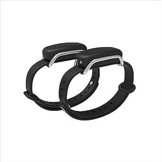 Bond Touch in Black - Pair of Bracelets, Silver/Silver Loop - Long Distance Connection Bracelets