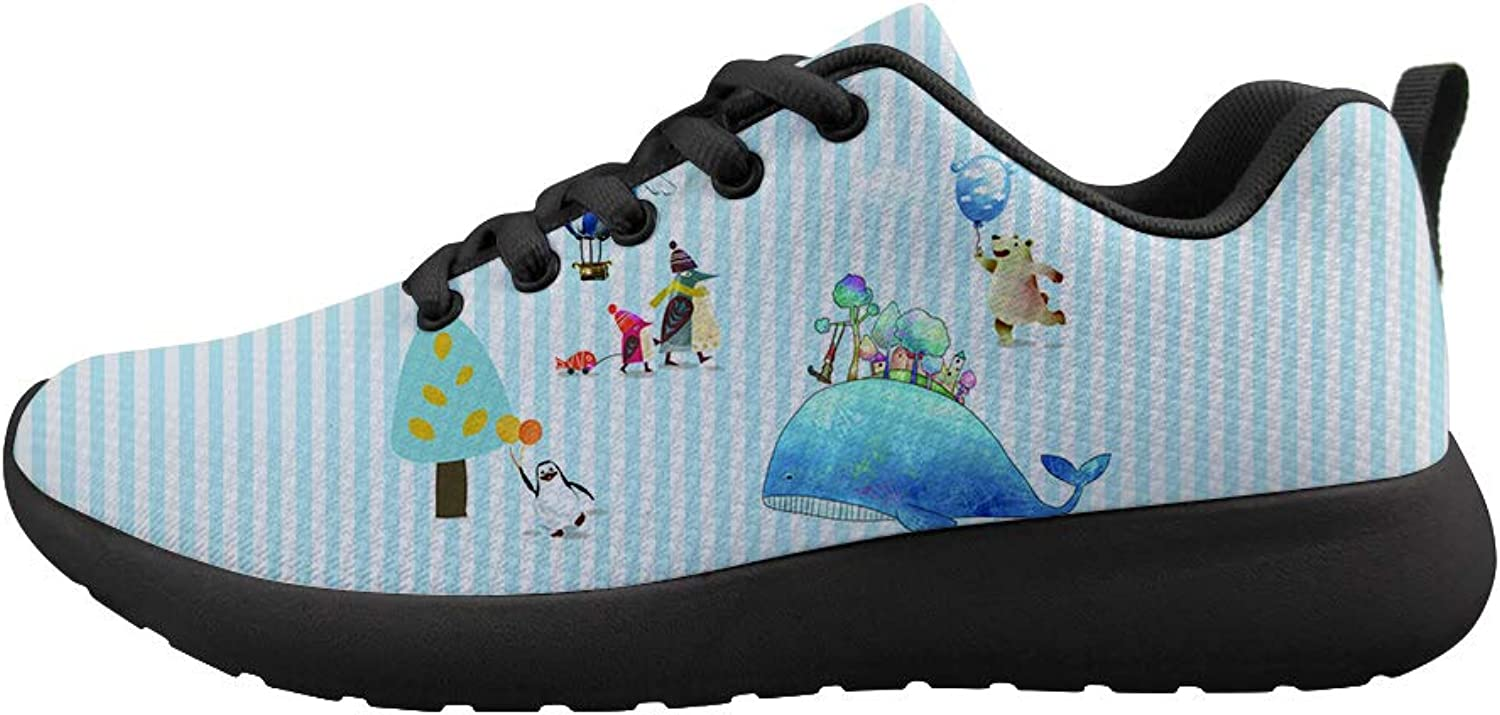 Owaheson Cushioning Sneaker Trail Running shoes Mens Womens Happy Polar Bear Whale Vacation Penguin Mum and Baby