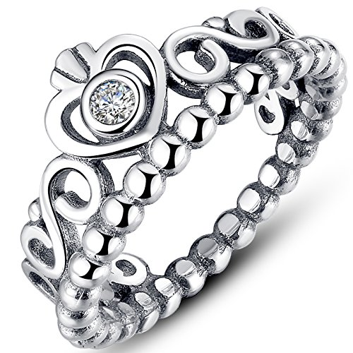 Presentski 925 Steriling d'argento a forma di cuore anello principessa ereditaria per il regalo di compleanno donne