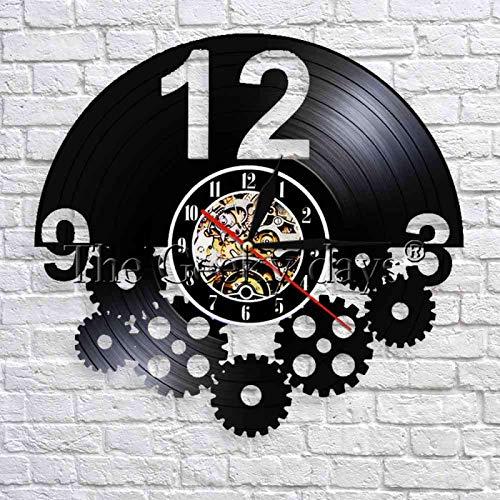 YINU Reloj de Pared con Disco de Vinilo Retro Decorativo 3D Arte Hecho a Mano