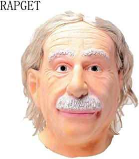 RAPGET Albert Einstein Celebrity Mask-Human Old Man Mask Realistic Halloween Latex Human Wrinkle Face Mask-Card Face and Fancy Dress Mask-Latex Full Head White Hair,Adult Size