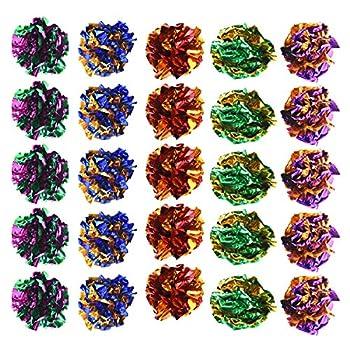 Jinlaili 20PCS Jouet Chat 6CM, Chat Balles Colorées, Balles Colorees en Papier pour Chaton Jouer, Chat interactif Jouet, Coloré Chat Balle Jouet, Balle pour Chat Chaton Chien