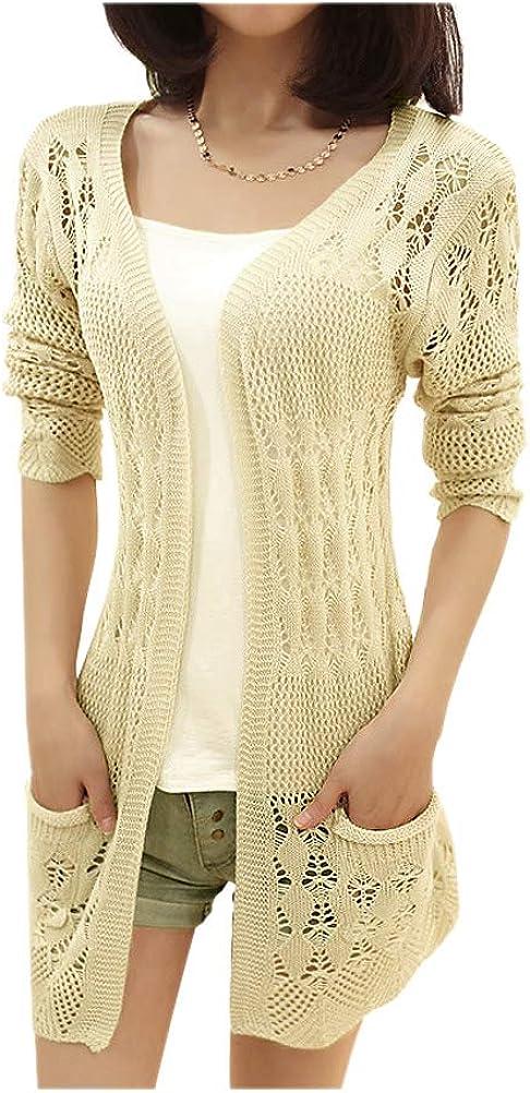 ARJOSA Women's Pockets Crochet Cable Knit Open Front Cardigan Sweater Jumper Top