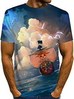 ZIXIYAWEI 3D Camisetas para Hombre Esqueleto De Dibujos Animados Calavera Barco Pirata Patrón Novedad De Los Hombres Camiseta Camiseta Casual De Verano De Manga Corta Animal Impreso Camiseta Tops