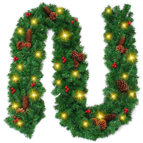 Ricdecor Christmas Garland with Lights, 9 Ft Christmas Garland for Mantle Outdoor Christmas Garland Greenery with 100 LED Lights,Red Berries,Pine Cones