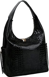 Lizard Crocodile Print Vegan Leather Side Pocket Structured Hobo Bag Purse