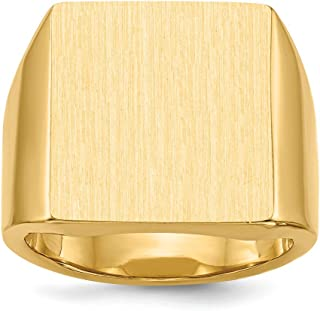 14k Yellow Gold 17.5x16.5mm Closed Back Mens Signet Band Ring Size 10.00 Man Fine Jewelry For Dad Mens Gifts For Him