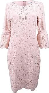 Women's Laser-Cut Bell-Sleeve Sheath Dress (8, Blush)