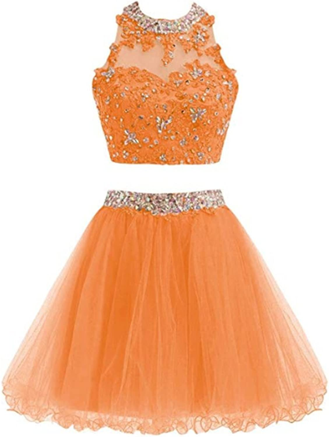 FWVR Women's 2 Piece Homecoming Dresses Beaded Short Prom Party Gowns Tulle Lace