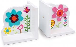 """Bokstöd""""blomma"""" av vitlackerat trä, med färgglada blommotiv och applikationer, en trevlig blickfångare i barnkammaren"""