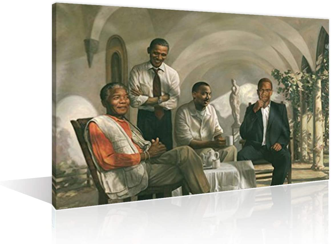 African American Art Wall Decor for Living Room Painting of Barack Obama, Malcolm X, Nelson Mandela, and Martin Luther King Jr. Inspirational Posters Art Paintings Framed for Office, 12