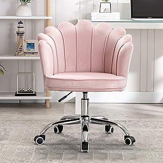KST Sillones para el hogar, escritorios y sillas de Oficina Modernos con Grandes respaldos y apoyabrazos de pétalos, sillones para computadora de Estudio para Dormitorio, Rosa