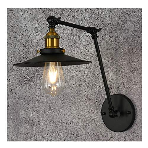 A-ZHP W. Lámpara de Pared Estilo Americano Retro Black Bar Cafe Sala de Estar Dormitorio Estudio Habitación Lámpara de Pared Decorativa Ajustable, Negro [Clase de energía A ++]