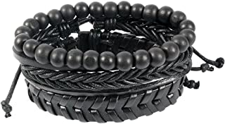 Unknown By Ayesha Men's combination of braided and beaded Black Faux Leather Bracelet