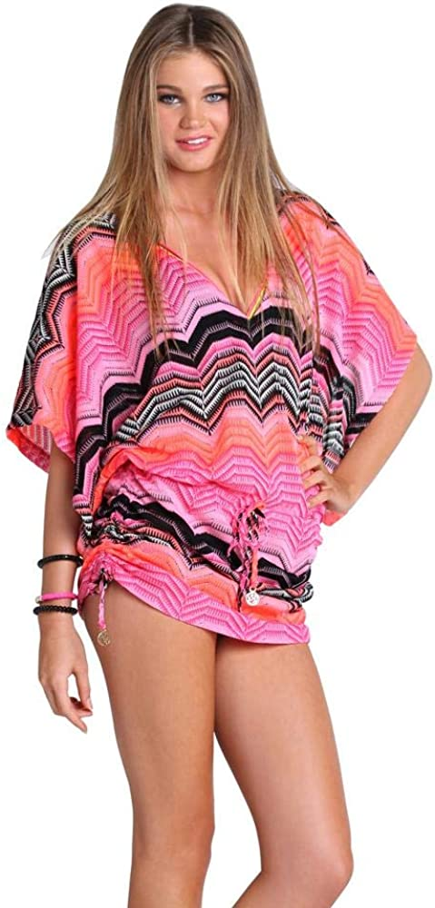Luli Fama Women's Standard Pink Champagne-Crochet Cabana V-Neck Dress Cover Up