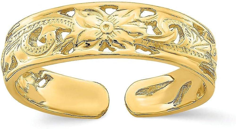 Finejewelers 14k Yellow Gold Adjustable Flower Center Leaf Trim Toe Ring