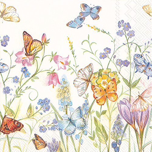 Celebrate the Home Spring 3-Ply Paper Luncheon Napkins, Butterflies and Blossoms, 20 Count