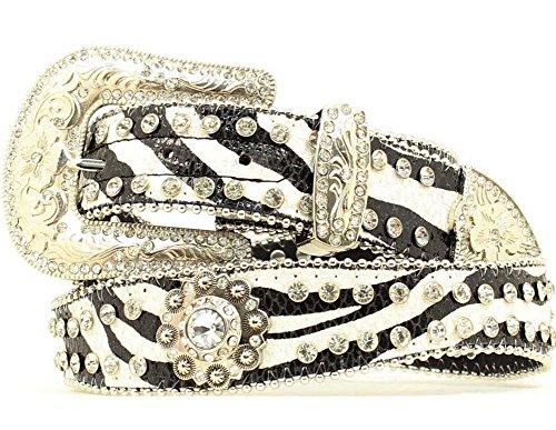 Blazin Roxx Women's Zebra Print Rhinestone Conchos Belt, Black, White, XL