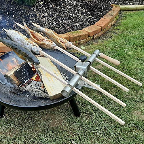 Steckerlfisch Halter für 4 Fische, Holz Spieße, für Jede Feuerschale
