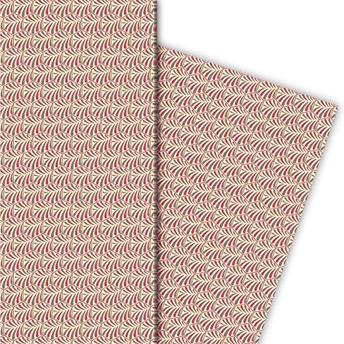 Kartenkaufrausch Elegant cadeaupapier set met jugendstil tegels, licht, voor mooie geschenkverpakking, designpapier, scrapbooking, 4 vellen, 32 x 48 cm
