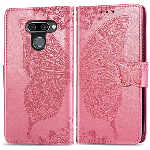 Leather Wallet Case for LG K50 / LG Q60 Flip Case Protective Shockproof Cover with Magnetic Closure, Stand Function, Card Slots for LG K50 / LG Q60 - JESD020960 Pink