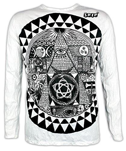 Sure Clothing Herren Longsleeve T-Shirt Das Allsehende Auge Größe M L XL Illuminati Pyramide NWO Club PSY Progressive (Weiß L)