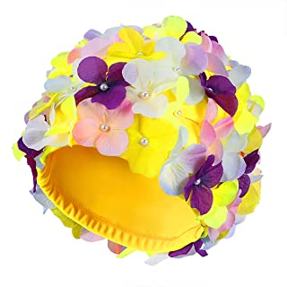 WINOMO Fashionable Swim Cap Floral Petal Stylish Swimming Hat Bathing Caps Size L for Women