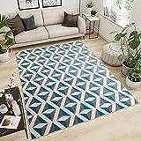 Tapiso Maroko Tapis de Salon Chambre Design Moderne Marocaine Gris Bleu Blanc Motif 3D Géométrique Poil Court 120 x 170 cm