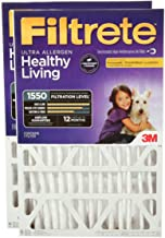 Filtrete MPR 1550 DP 20x25x4 AC Furnace Air Filter, Healthy Living Ultra Allergen Deep Pleat, 2-Pack