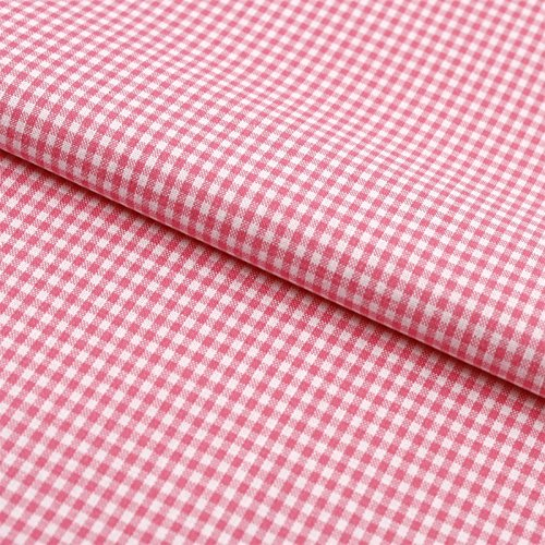 Hans-Textil-Shop Stoff Meterware Vichy Karo 2x2 mm Rosa Baumwolle - Für Landhaus, Deko, Nähen oder Basteln, Kariert mit Karomuster