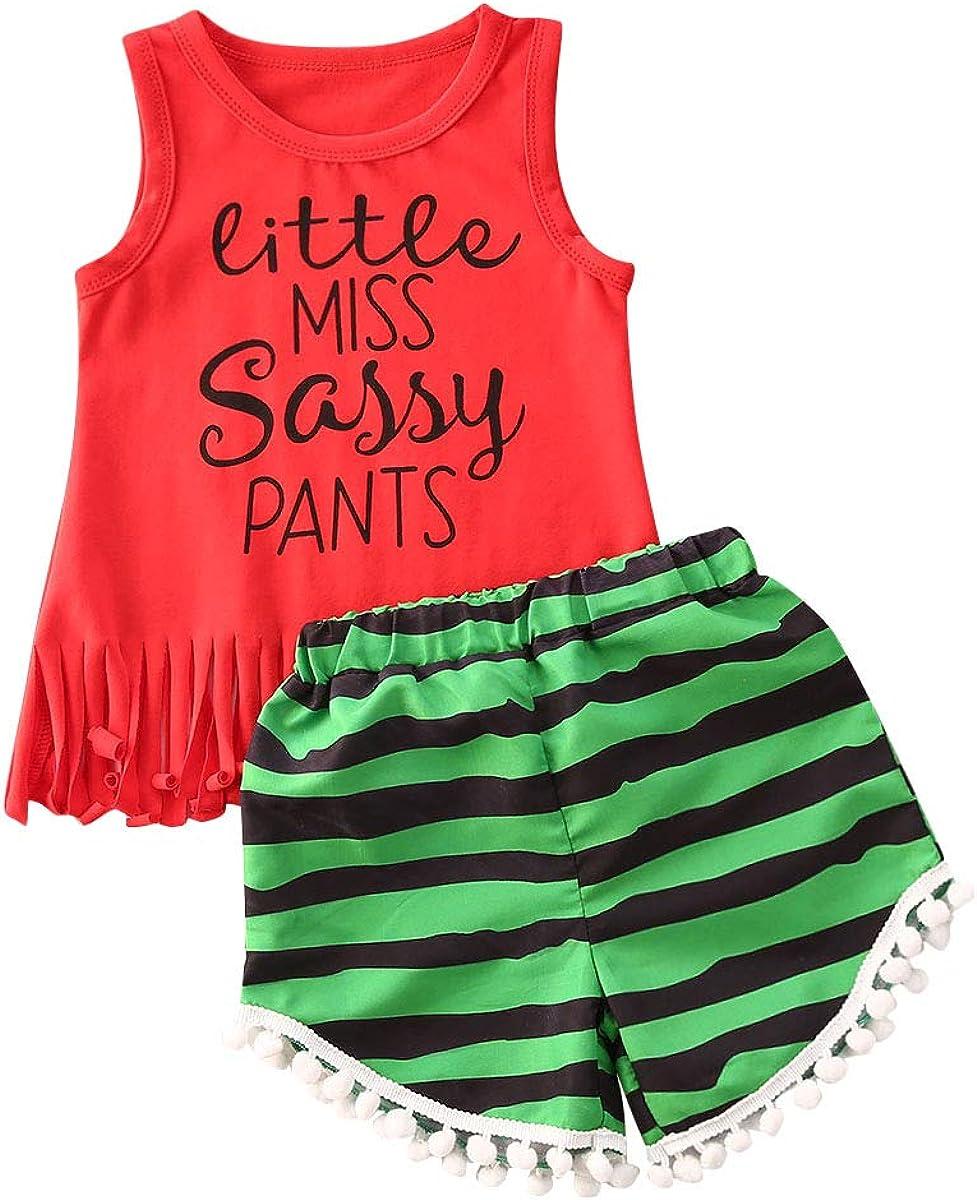 Toddler Baby Girls Summer Shorts Sets Fringe Tank Tops Tassel Floral Pompom Shorts 2Pcs Outfits Clothes
