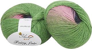 Feteso 毛糸 並太 1玉50g 編み糸 虹色 アソートカラー 手芸糸 編み物 毛糸セット カラーランダム たわし 1玉当たり 50g 約110m Knitting Velvet Crochet Coral Cashmere Yarn