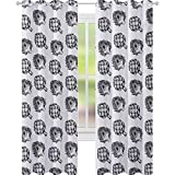 YUAZHOQI Cortinas de alcachofa para sala de estar, granja, verduras, alimentos nutritivos y deliciosos veganos, cortinas opacas en blanco y negro para dormitorio de 132 x 182 cm, color blanco y negro