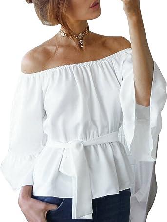 Blusa Camiseta Casual Elegante Verano Playa Cuello Barco ...