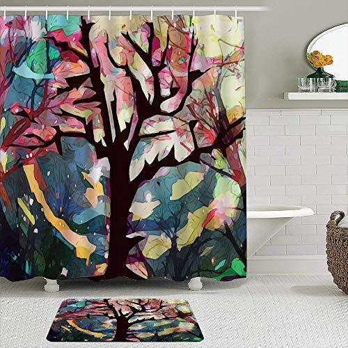 vhg8dweh Juegos de Cortinas de baño con alfombras Antideslizantes, Árbol de Acuarela Abstracta Colorida,con 12 Ganchos