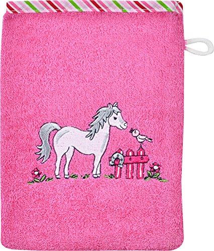 """Wörner Kinder-Waschhandschuh \""""Pferd\"""" Walk-Frottier pink Größe 15x20 cm"""