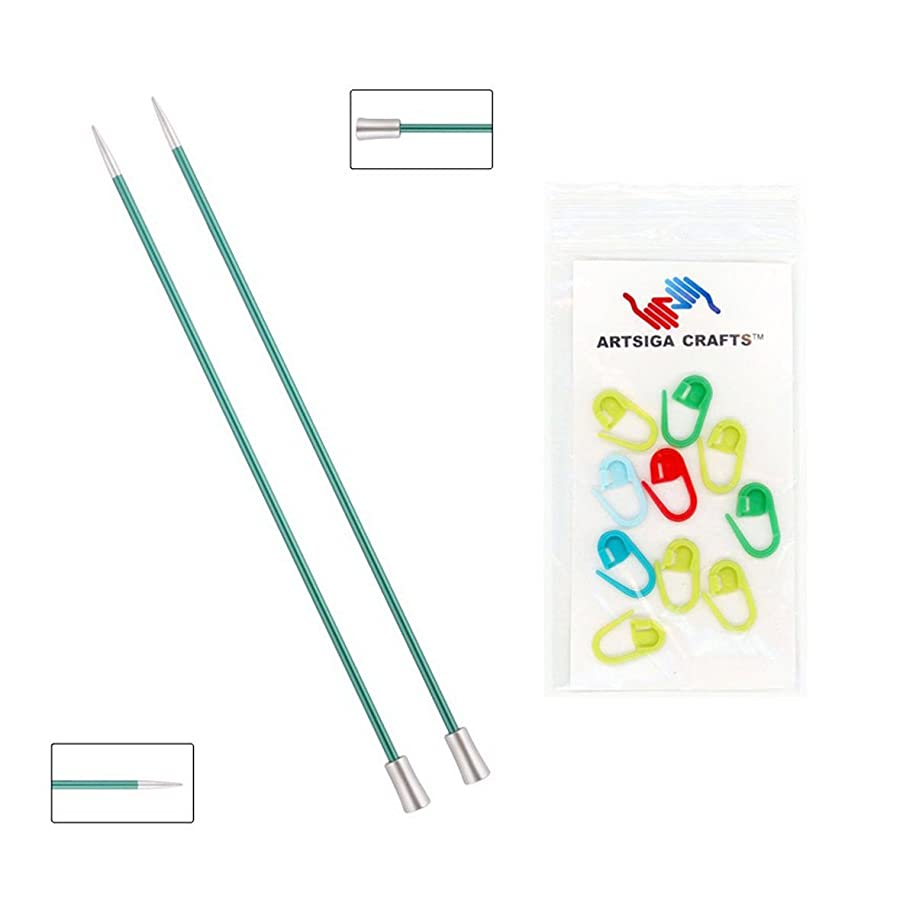 Knitter's Pride Zing Single Pointed Knitting Needles 14in. Size US 3 (3.25mm) Bundle with 10 Artsiga Crafts Stitch Markers 140276