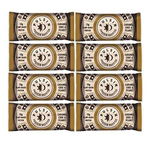 Pulsin Protein Booster Caramel Choc (Chocolate) Peanut (18x50g) Veganer Riegel aus natürlichen Proteinquellen (Erbsenprotein, Reisprotein) - Milchfrei - Glutenfrei - Sojafrei