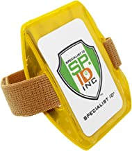 Heavy Duty Reflective Yellow Armband ID Badge Holder with Elastic Hook & Loop Closure Arm Band by Specialist ID