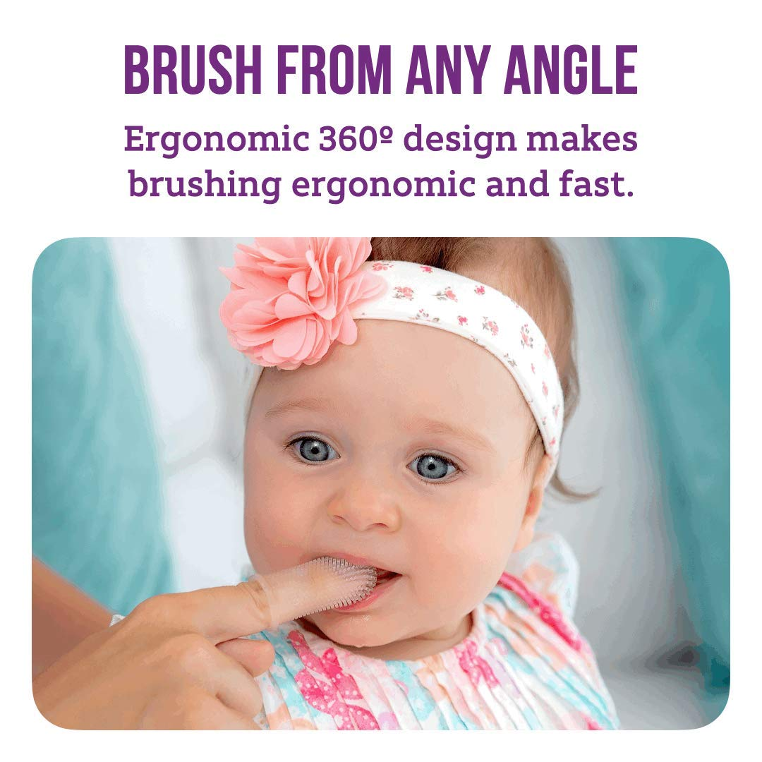 Full Surround Silicone Bristles for Babies Itsy Bitsy People 360/º Finger Toothbrush Multi-Colors Infants and Toddlers Set of 4 BPA Free