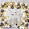 TKLLOVVE ブラックとゴールドのバルーンガーランドアーチキット-記念日、卒業式、お誕生日おめでとうパーティーの装飾用の16フィートのバルーンストリップ付き120個のブラックホワイトゴールドの紙吹雪ラテックスバルーン
