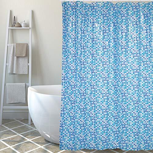 MSV Anti-Schimmel Duschvorhang Mosaik Blau Anti-Bakteriell, waschbar, wasserdicht PVC 180x200cm