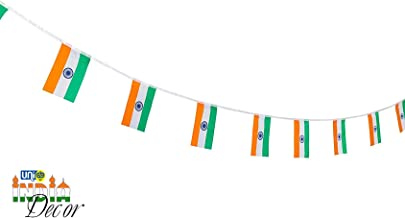Selling Uniqness UNIq Indian Flag National Country Flags Banner String, for 15 August/26 January/Independence/Republic Day Decoration, 12 Feet -10 Flags