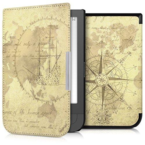 kwmobile Hülle kompatibel mit Pocketbook Touch HD/Touch HD 2 - Kunstleder eReader Schutzhülle Cover Case - Travel Vintage Braun Hellbraun