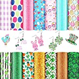 14 Pieces St Patrick's Day Easter Faux Leather Sheet Easter Egg Bunny Printed Synthetic Leather Sheets Chunky Glitter Fabric Leather Sheet for Decoration DIY Crafts, 6.3 x 8.3 Inches, Assorted Pattern