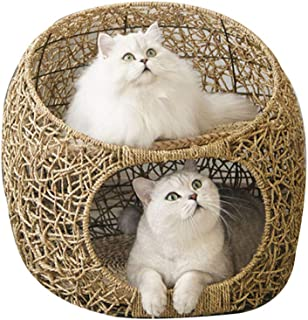 DYYTRm Wicker Cat Bed Basket 2 Layers Pet Dog Sleeping House with Soft Cushion Four Seasons Universal Cat House Indoor Cat Supplies