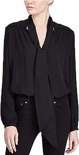 Polo Ralph Lauren Women's Silk Georgette Necktie Blouse Black XL