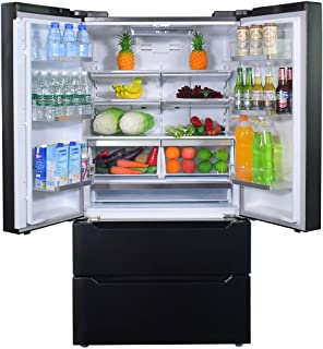 SMETA 36 Inch 22.5 cu ft Counter Depth French Door Refrigerator E-Star Bottom Freezer with Auto Ice Maker for Home, Kitche...