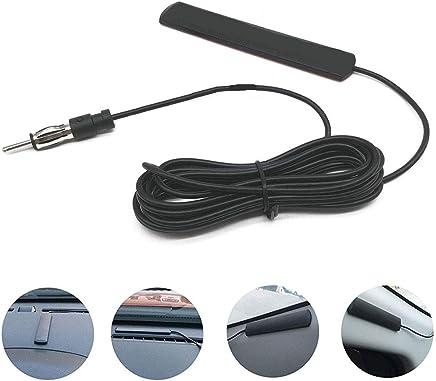 QLOUNI 5m Antena de Radio del Coche ANT-309-3dbi Alambre de Cobre Completo Antena del Coche de Parche de Radio Universal para Instalar el Parabrisas (Negro)